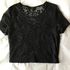 Forever 21 Tops - ♠️black sheer lace crop top♠️